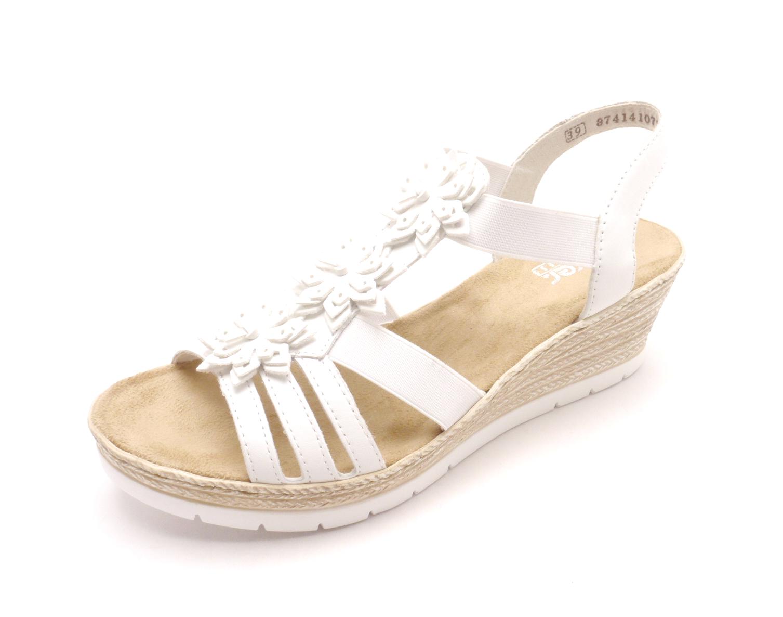 Rieker Dámské bílé sandály na klínku 61949-80 Velikost  38 696eda36c7