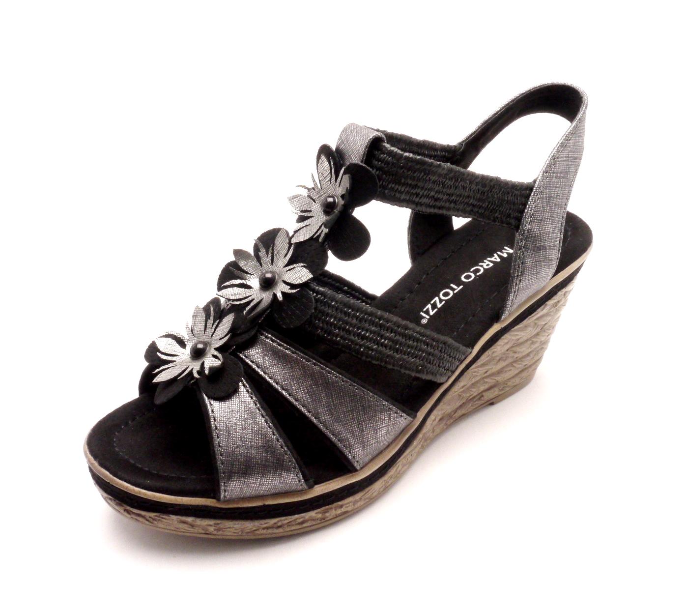 Marco Tozzi Dámské černé sandály na klínku 2-28302-098 Velikost  40 a58fa5892a