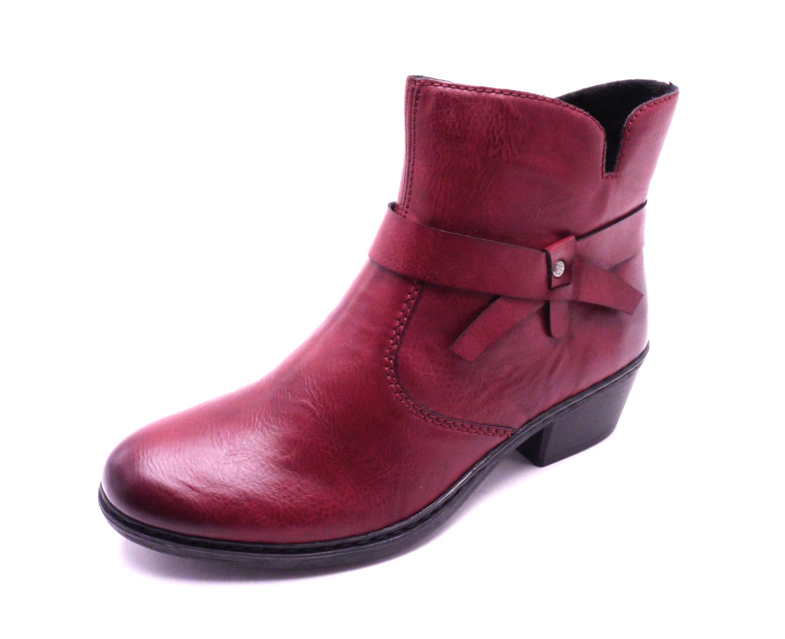 Rieker Dámské vínové kotníčkové boty 75553-35 Velikost: 36