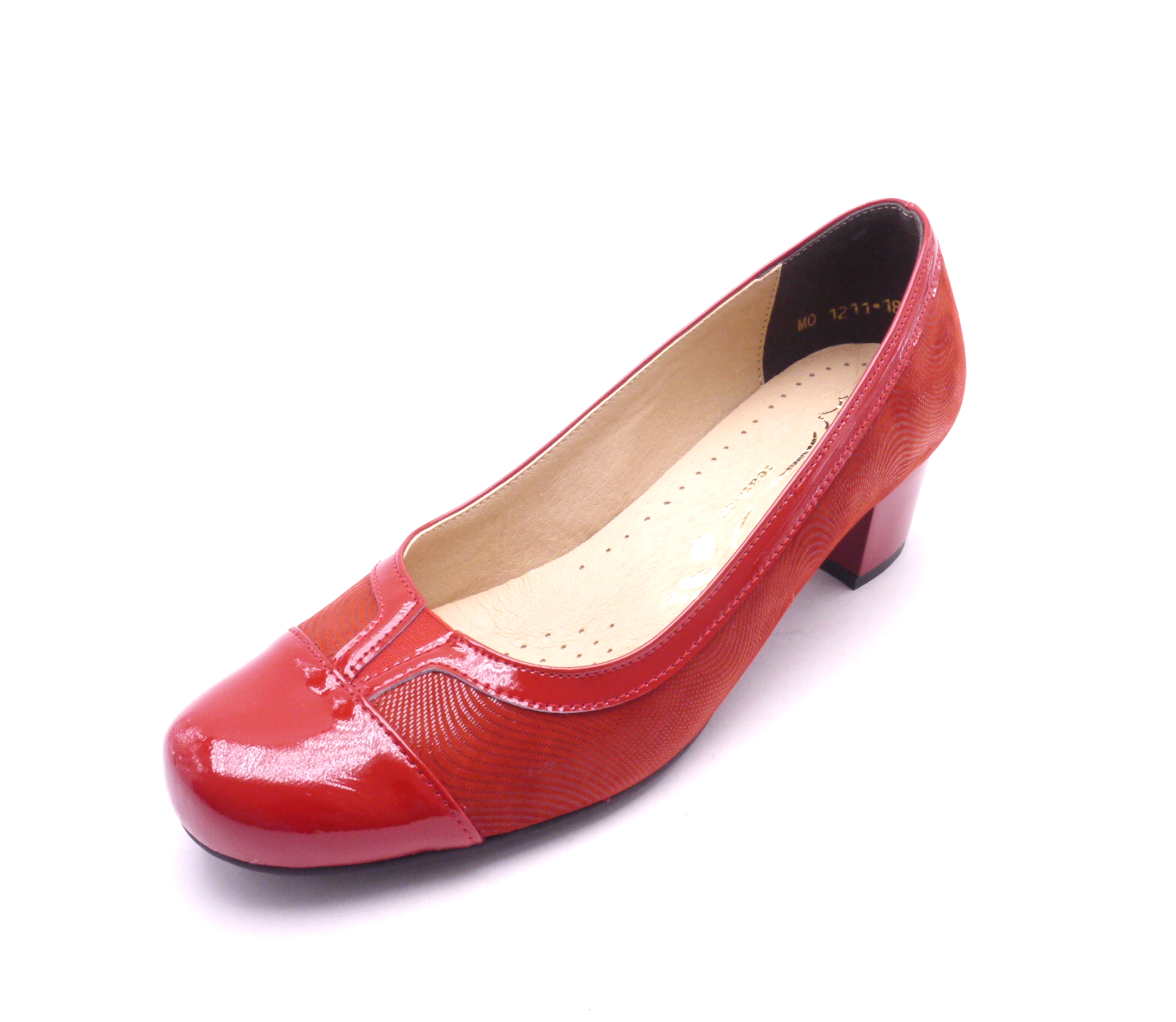 Mintaka Dámské elegantní červené lodičky s lakovanou špičkou 1211 Velikost: 37