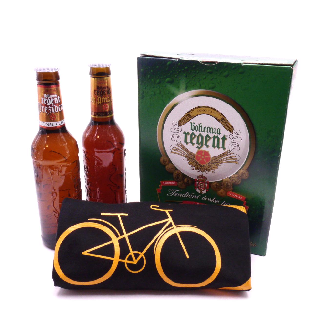 MCM Dárkové balení 2 piva a černé tričko s cyklistickým motivem velikost: L