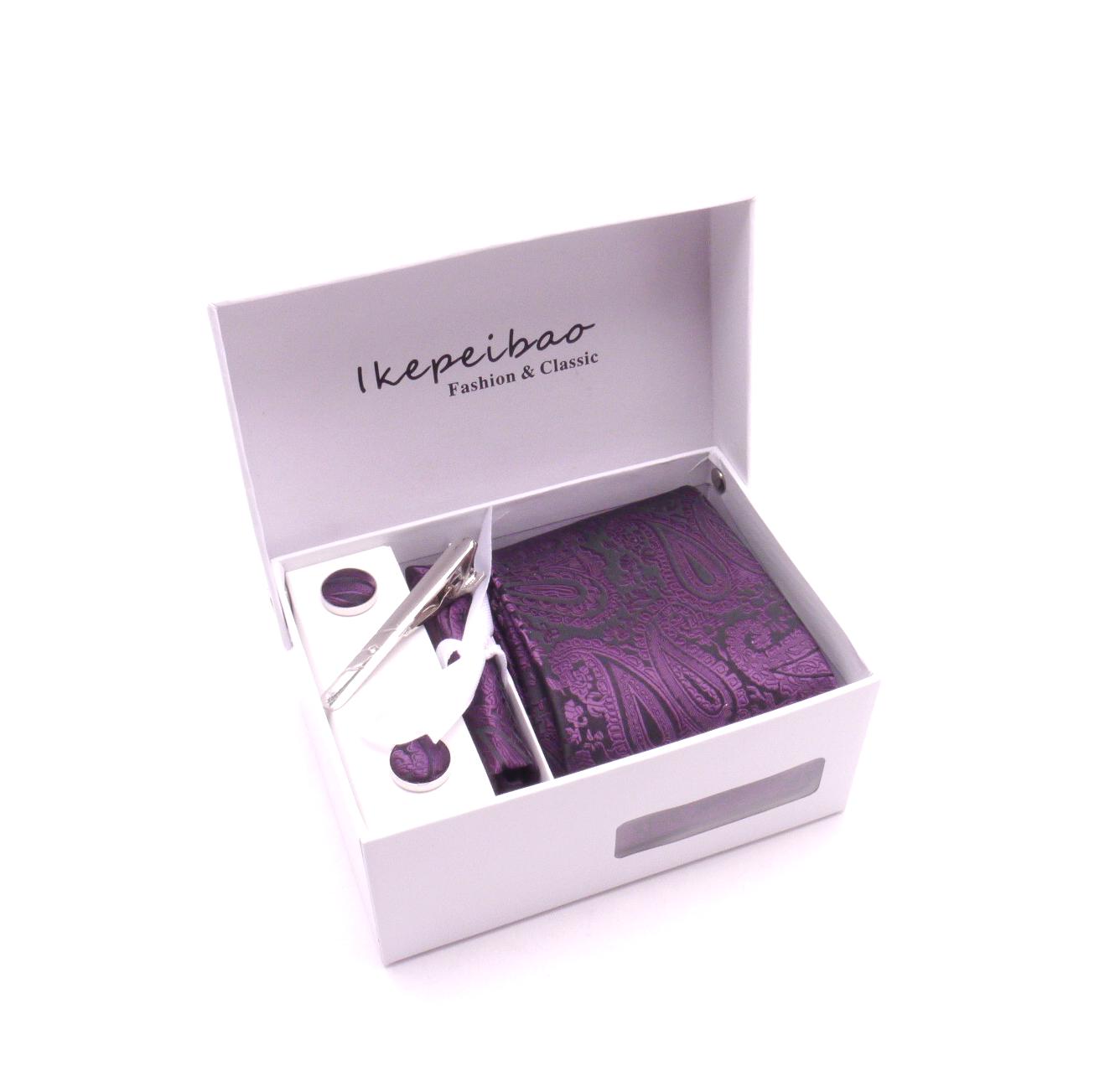 MCM Dárkový set kravata, manžetové knoflíčky, kapesníček a spona - fialová