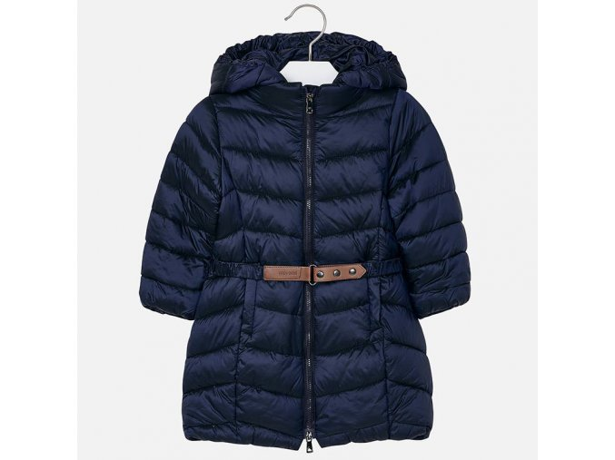 Modrý zimní kabát s páskem Mayoral