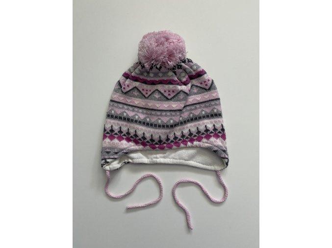 Růžová čepice na tkaničku DOLL