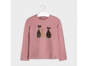 Růžové tričko kočky Mayoral