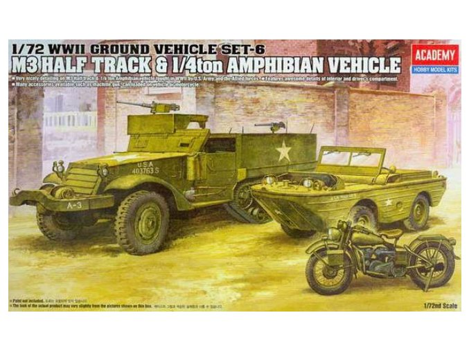 Academy M3 Half Track & 1/4ton Amphibian Vehicle 1:72 13408
