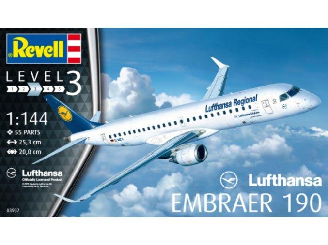 Revell letadlo Embraer 190 Lufthansa 1:144 03937