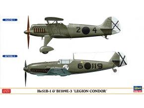 Hasegawa He51B-1 a Bf109E-3 Legion Condor (2 Kits) 1:72 02197