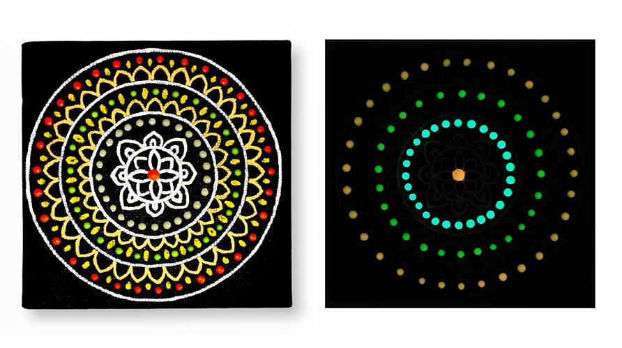 Jak namalovat mandalu svítící ve tmě foto návod