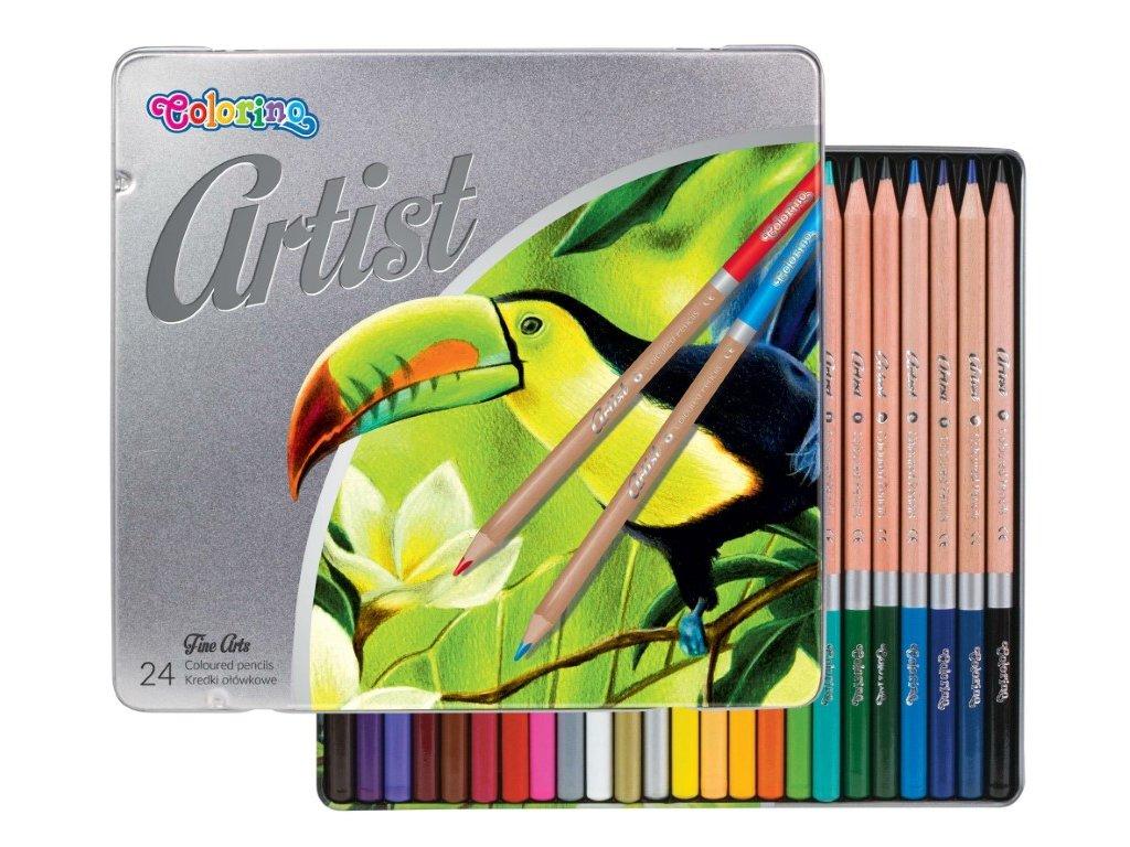 pastelky artist colorino 24 ks kovovy box