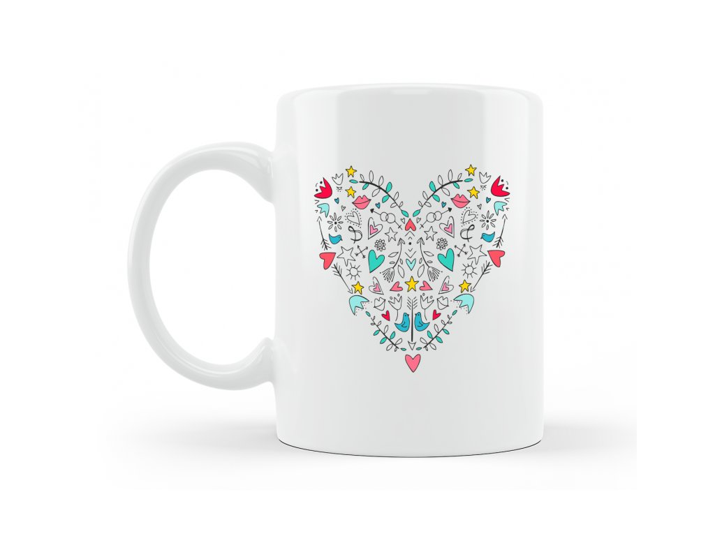 porcelanovy hrnecek mandala srdce