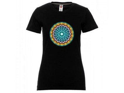 Tričko s mandalou černé dámské