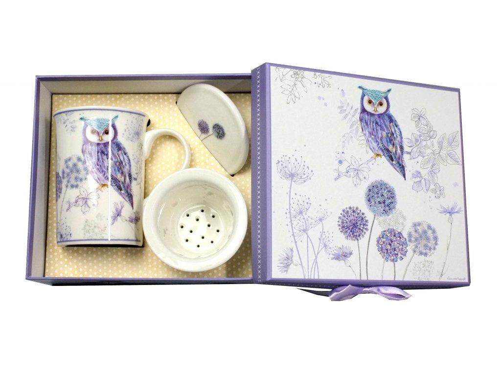18024 porcelanovy hrnek se sitkem a vickem fialova sova