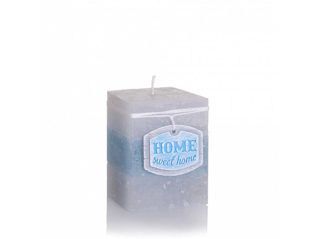 Svíčka Home Sweet Home - hranatá - malá (Barva růžová)