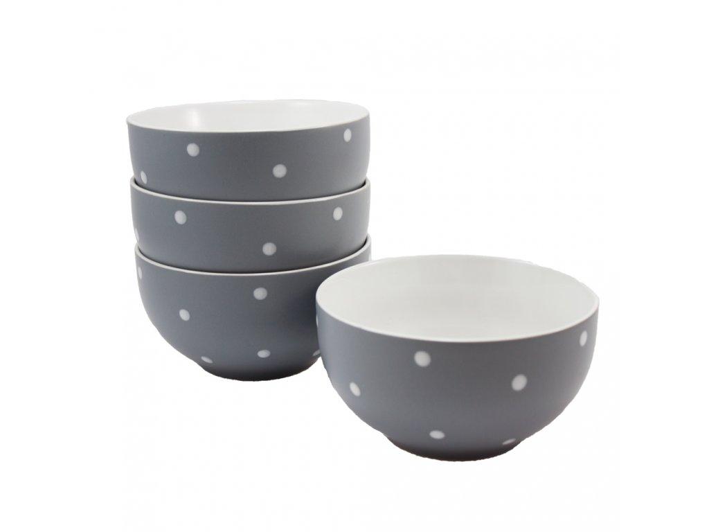 Sada 4 ks : Miska s puntíky, ⌀ 14 cm, tmavě šedá