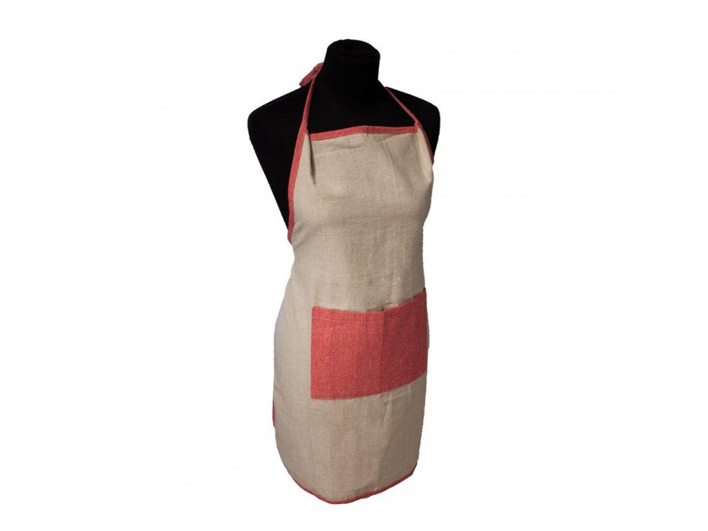 Kuchyňská zástěra z recyklované bavlny, 60*80 cm,  béžová + červená