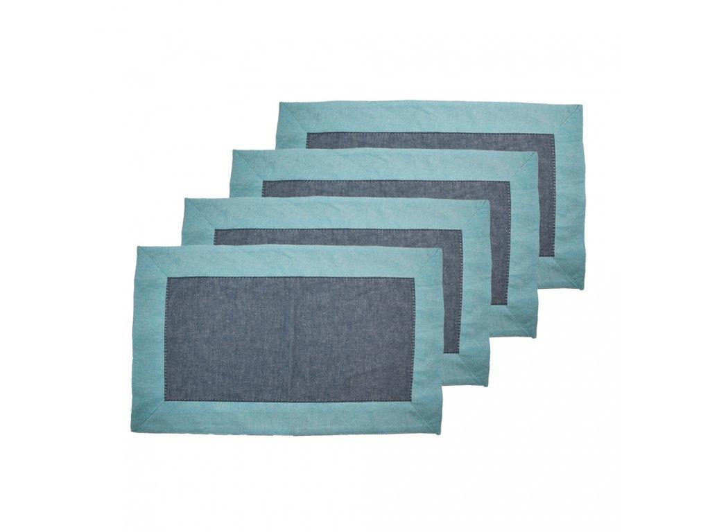 Prostírání z recyklované bavlny, 4 ks,  30 x 50 cm, modrá