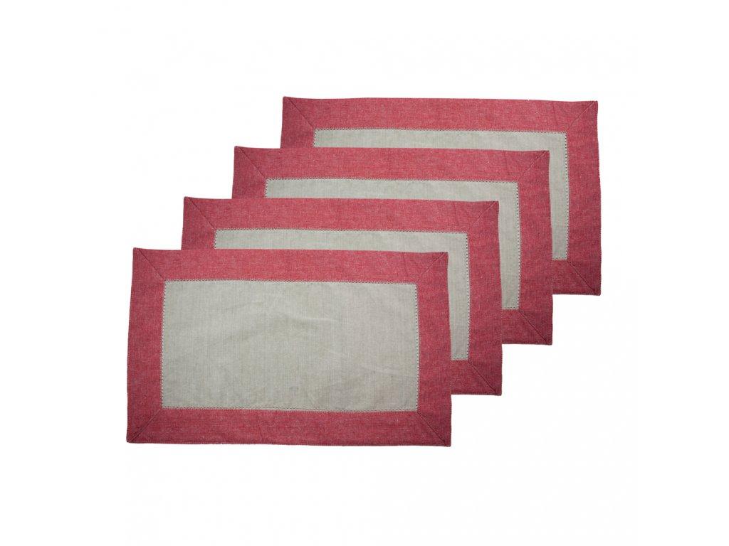 Prostírání z recyklované bavlny, 4 ks, 30 x 50 cm, béžová + červená
