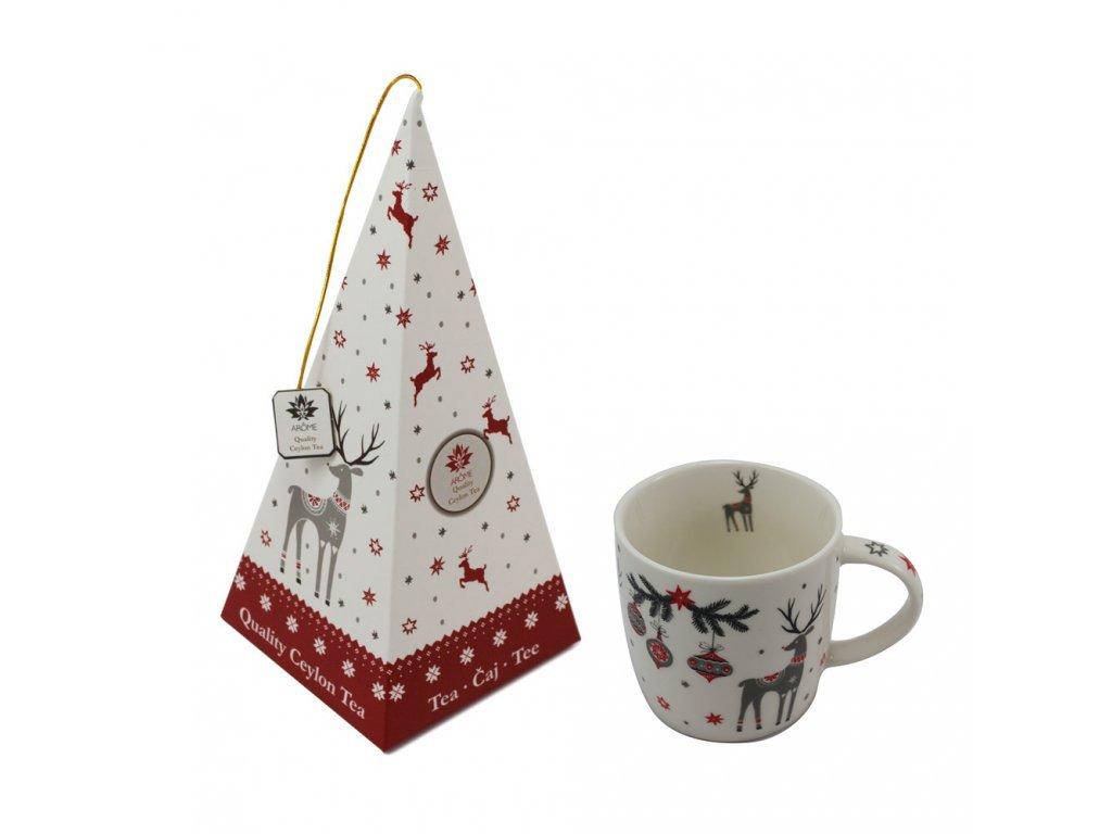 Vánoční hrnek se sobíkem, 340 ml + Bílý čaj - Jahoda