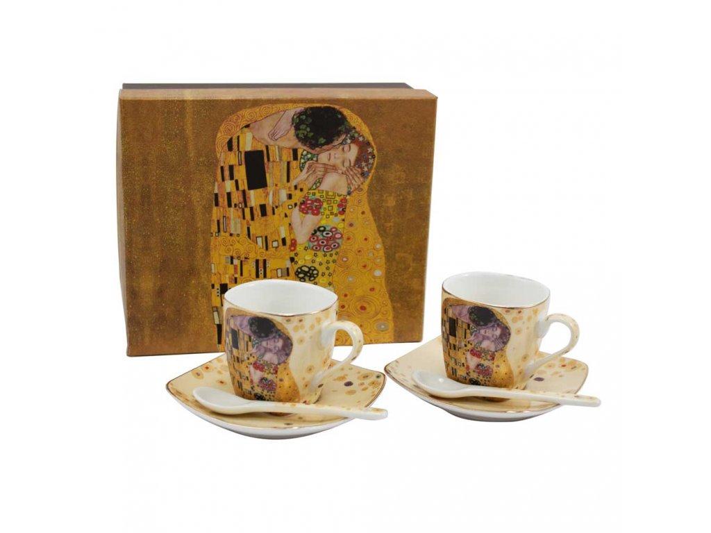 Espresso set - 2 šálky s podšálky a lžičkami, Klimt
