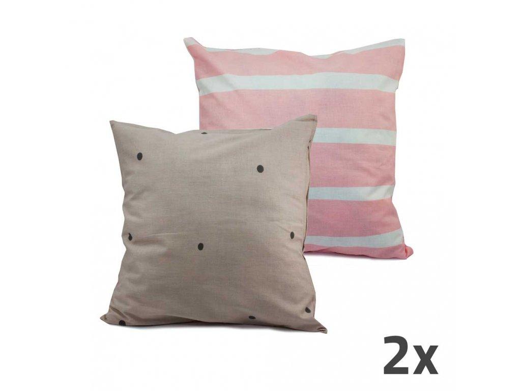 Povlak na polštář - oboustranný, světle šedá a růžová, sada 2 ks