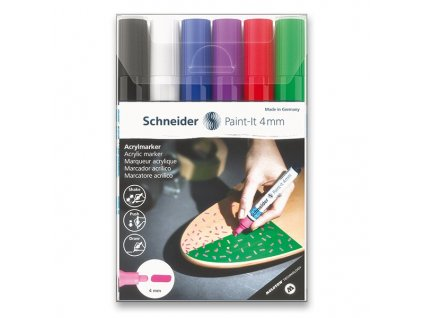 Akrylový popisovač Schneider Paint-It 320 souprava V1, 6 barev