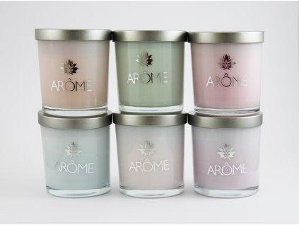 Arôme vonná svíčka ve skle 200 g (Druhy vůní Sandalwood & Rose)