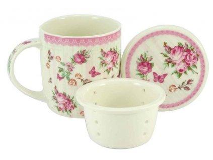 17373 porcelanovy hrnek 390 ml se sitkem a vickem ruze