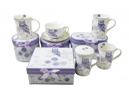 18018 porcelanovy salek na kavu s podsalkem fialova sova