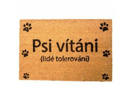 Rohožka s originálním textem, Psi vítáni, 40x60 cm