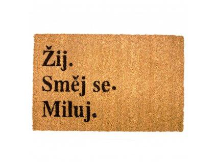 Rohožka s originálním textem, Žij, směj se, miluj, 40x60 cm