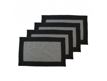 Prostírání z recyklované bavlny, 4 ks, 30 x 50 cm, šedá