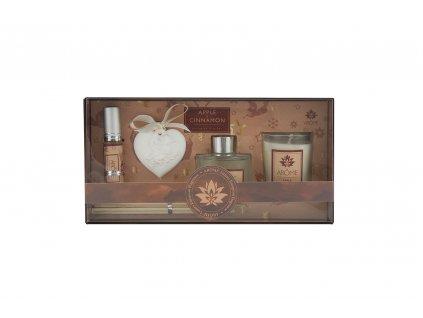 Osvěžovač vzduchu, sada 50 ml difuzér, 10 ml jílový difuzér, svíčka - Apple & Cinnamon, II. jakost