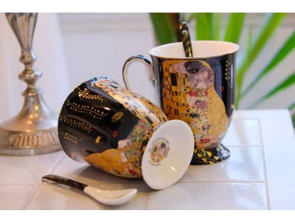 Porcelánové hrnky se lžičkami, 2 ks – Klimt, II. jakost
