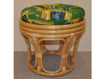 Polstr na ratanovou taburetku zelený - průměr 40 cm