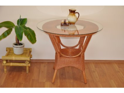 Ratanový stůl jídelní Wanuta cognac