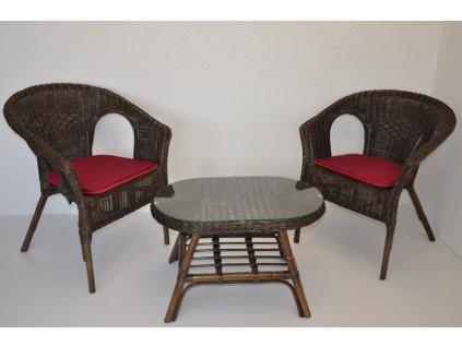 Ratanová sedací souprava Fabion hnědá oválný stolek
