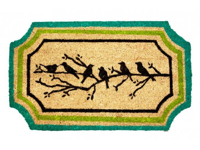 Rohož z kokosových vláken, ptáčci na větvi s lemem, 45x75 cm