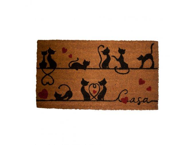 Rohožka s motivem kočičích siluet, 40x70 cm