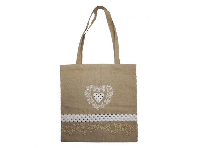 Látková taška, béžová, srdce
