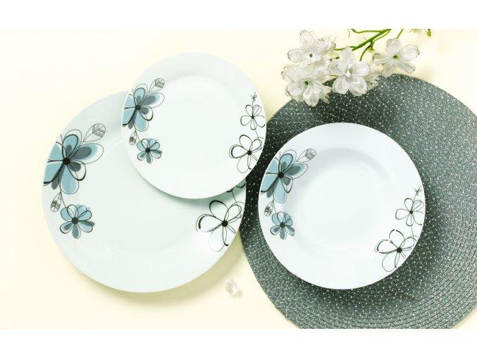 Jídelní sada kulatých talířů, 18 ks, Šedá květina