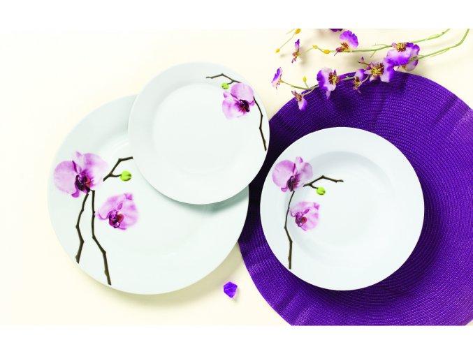 Jídelní sada kulatých talířů, 18 ks, Orchidej