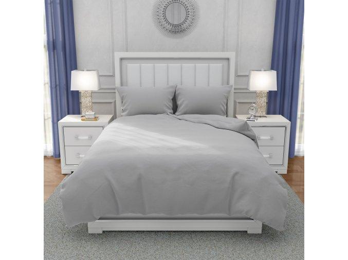 Francouzské bavlněné povlečení, světle šedá, 220 x 200 cm + 2 x 70 x 90 cm