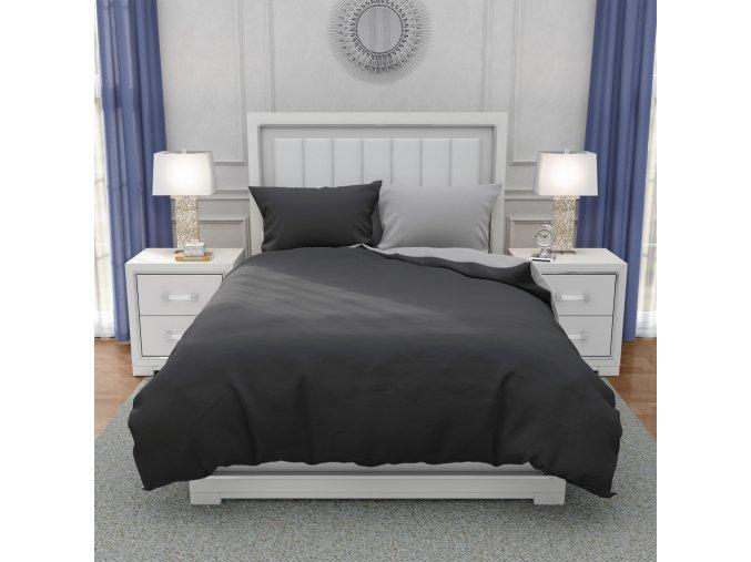 Francouzské bavlněné povlečení, tmavě šedá + světle šedá, 220 x 200 cm + 2 x 70 x 90 cm