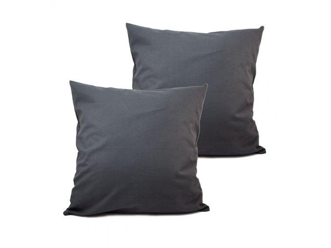 Povlak na polštář 40x40 cm, 2 ks, tmavě šedá