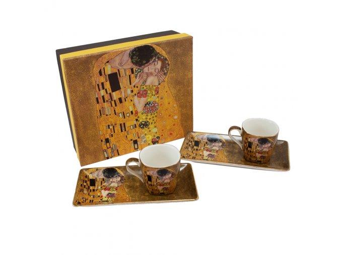Espresso šálky s podtácky, 90 ml - Klimt, II. jakost