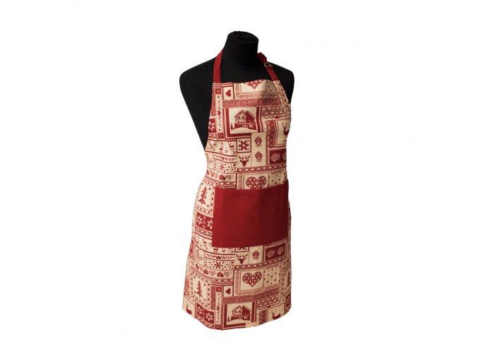 Vánoční kuchyňská zástěra 60*80 cm, Červená