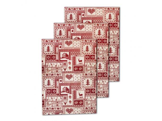 Vánoční utěrky 50*70 cm, sada 3 ks, červený patchwork