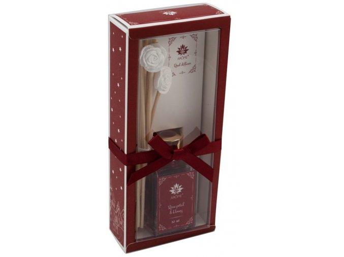 Osvěžovač vzduchu, tyčinkový difuzér, 30 ml, růže a med