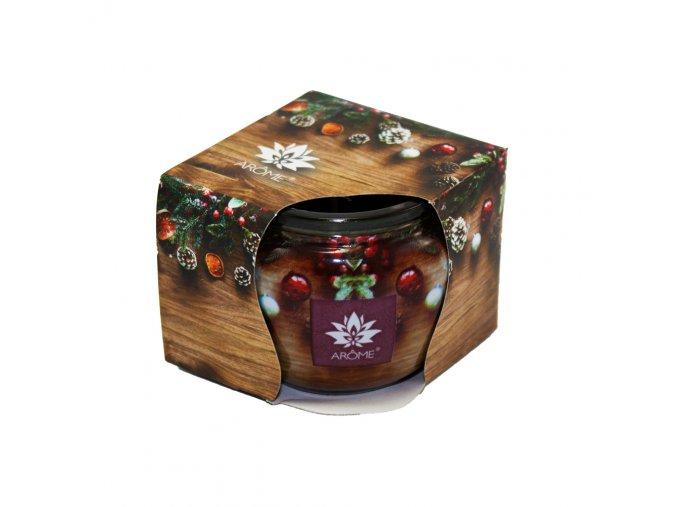 Vonná svíčka 85g ve skleničce, vánoční balení - lesní borovice
